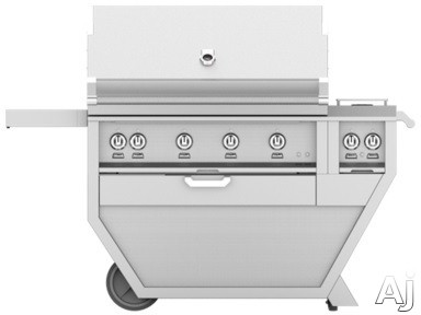 Image of Hestan GSBR42CX2BU 61 Inch Freestanding Grill with 782 sq. in. Grilling Area, 4 Sear Burners, Rotisserie, Double Side Burners, 148,000 BTU, Horizon Spring Assisted Hood, Warming Rack, Temperature Gauge and One-Push Ignition: Prince