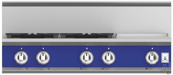 """Hestan KRT364GDLPBU 36 Inch Rangetop with 4 Sealed Burners, 12 Inch Griddle, Cast-Iron Continuous Grates, Backlit Control Knobs and Marquiseâ""""¢ Control Panel: Natural Gas / Prince"""