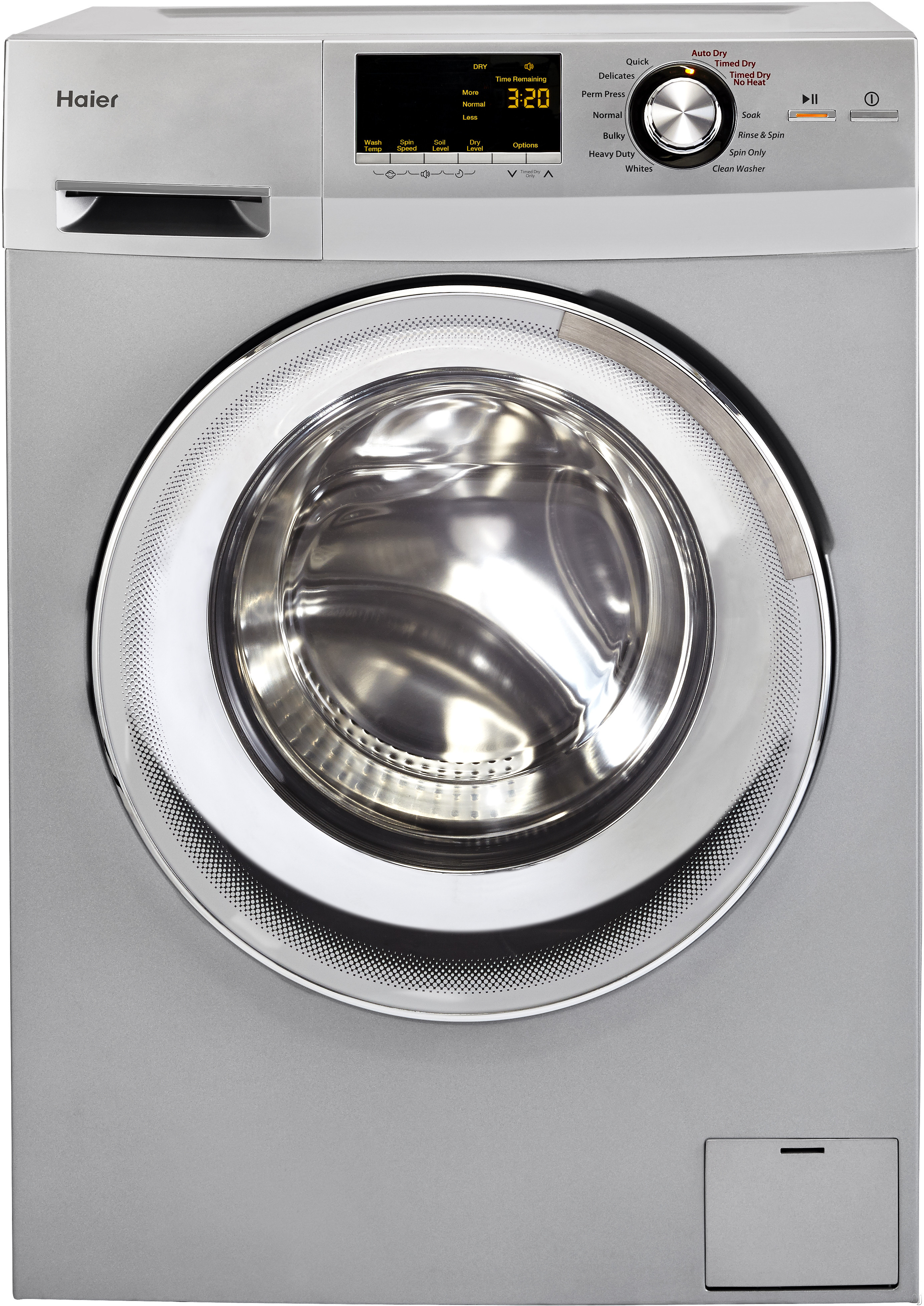 Haier HLC1700AXP 24 Inch Washer/Dryer Combo with 2.0 cu. ft. Capacity, Non-Vented Condensing Drying, 11 Wash Cycles, 3 Dry Cycles, 3 Dispensers (Detergent, Fabric Softener, Bleach) and 24-Hour Delay Start