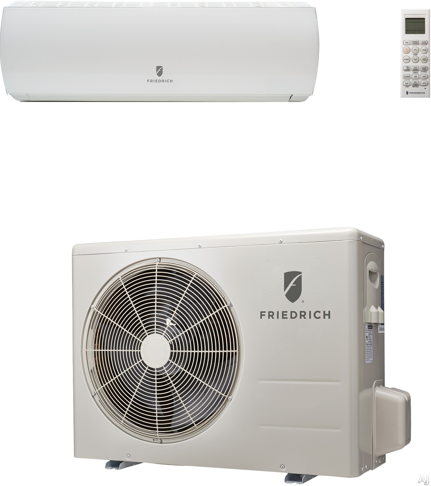 Friedrich HM12YJ 12,000 BTU Single Zone Wall-Mount Ductless Split System with 13,600 BTU Heat Pump, 14.0 EER, 25.0 SEER and R410A Refrigerant (MWH12Y3J Indoor/MRH12Y3J Outdoor)