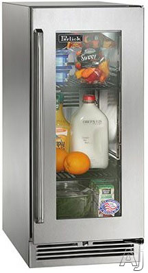 Image of Perlick Signature Series HP15RS33R 15 Inch Built-in Undercounter Refrigerator with 2.8 cu. ft. Capacity, 2 Adjustable Full-Extension Pull-Out Wire Shelves, Front-Vented RAPIDcool Cooling System, ENERGY STAR and Digital Control Module: Stainless Steel-Glas