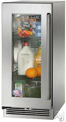 Image of Perlick Signature Series HP15RS33L 15 Inch Built-in Undercounter Refrigerator with 2.8 cu. ft. Capacity, 2 Adjustable Full-Extension Pull-Out Wire Shelves, Front-Vented RAPIDcool Cooling System, ENERGY STAR and Digital Control Module: Stainless Steel-Glas