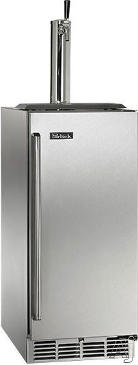Perlick Signature Series HP15TS3 15 Inch Built-in Indoor Beer Dispenser with 1 Sixth-Barrel Capacity, 525 BTU Compressor, 650SS Flow Control Faucet and Tapping System