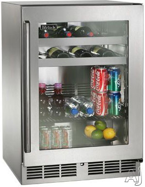 Perlick Signature Series HP24BO33R 24 Inch Built-In Undercounter Outdoor Beverage Center with 16 Wine Bottle Capacity, 41 12-oz. Can Capacity, 5.2 cu. ft. Volume, 2 Wine Racks and 1 General Shelf: Stainless Steel-Glass, Right Hinge Door Swing