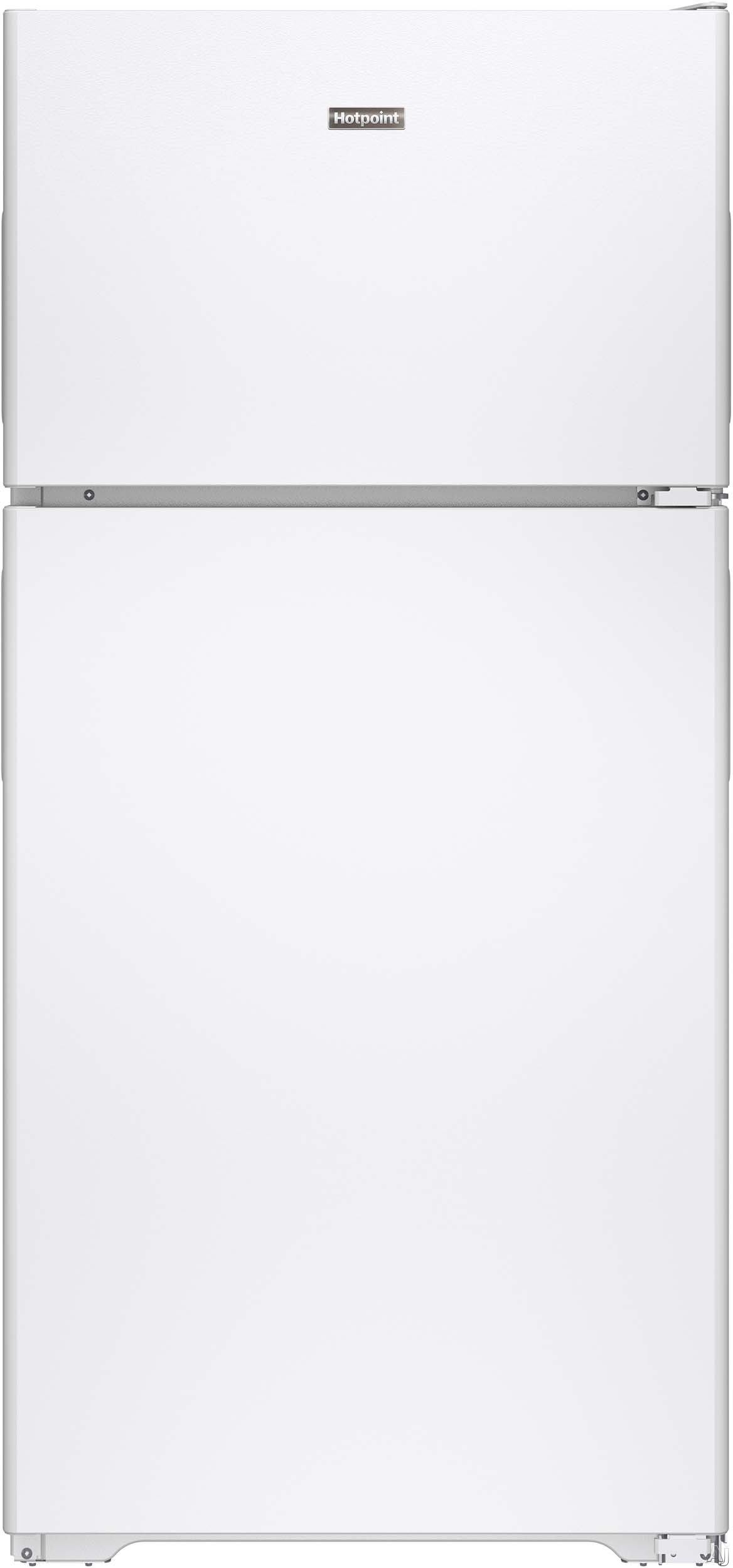 Hotpoint HPE15BTHWW 146 cu ft Top Freezer Refrigerator with 2 Wire Shelves 2 Storage Drawers 2 Gallon Door Bins Dairy Compartment Wire Freezer Shelf 2 Freezer Door Bins and Optional Ice Maker