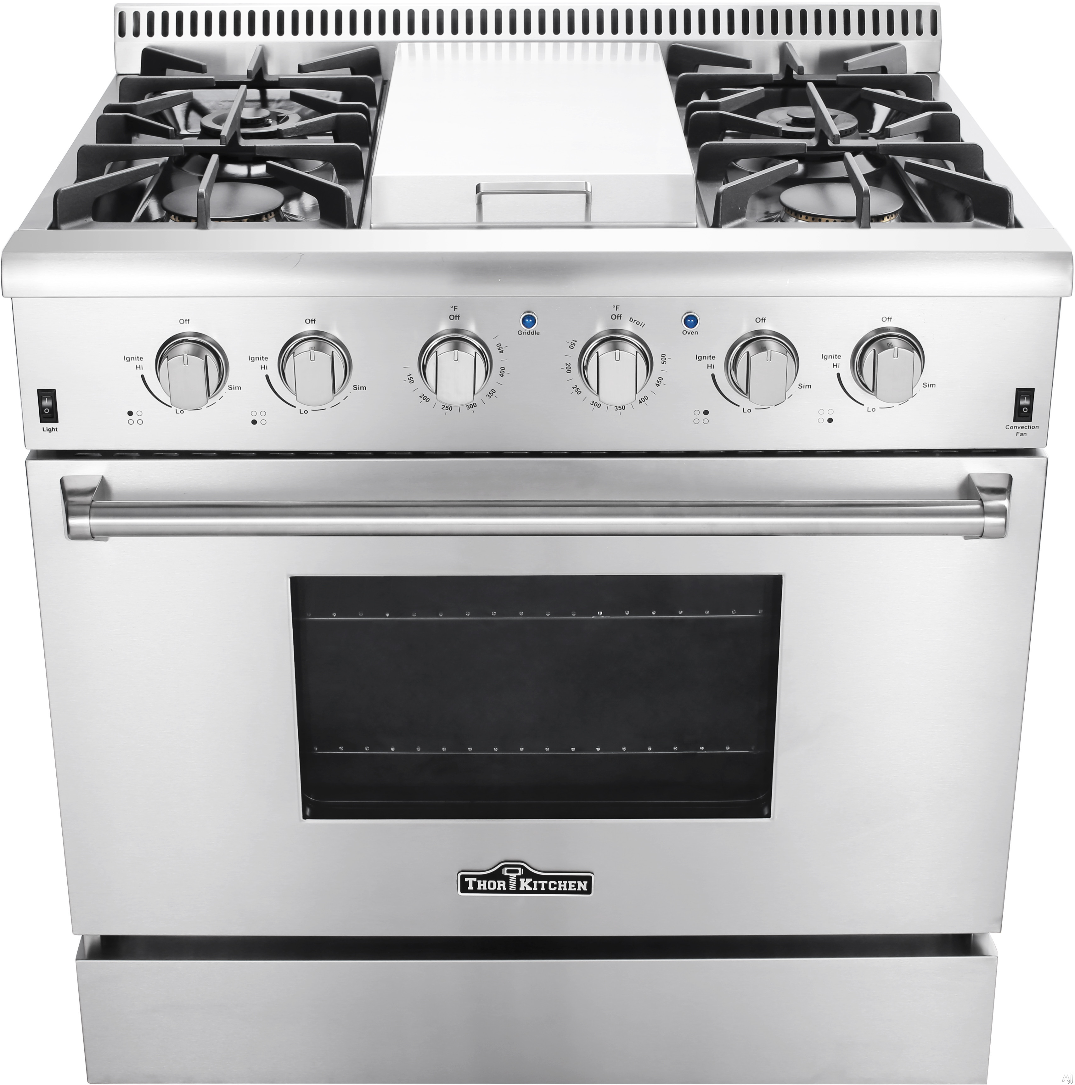 Thor Kitchen HRG3617U 36 Inch Freestanding Gas Range with Convection, Griddle, Infrared Broil Burner, Dual Burner, 4 Sealed Burners, Continuous Grates, Automatic Re-Ignition, Porcelain Drip Pan 5.2 cu