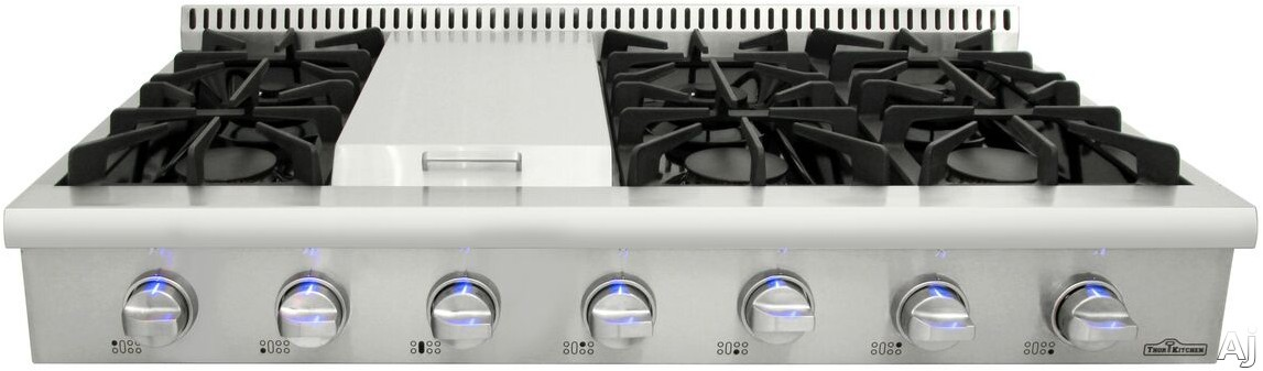 Thor Kitchen HRT4806U 48 Inch Gas Rangetop with Griddle, Porcelain Drip Pan, Continuous Grates, Cast Iron Grates, Automatic Re-Ignition and Blue LED Controls