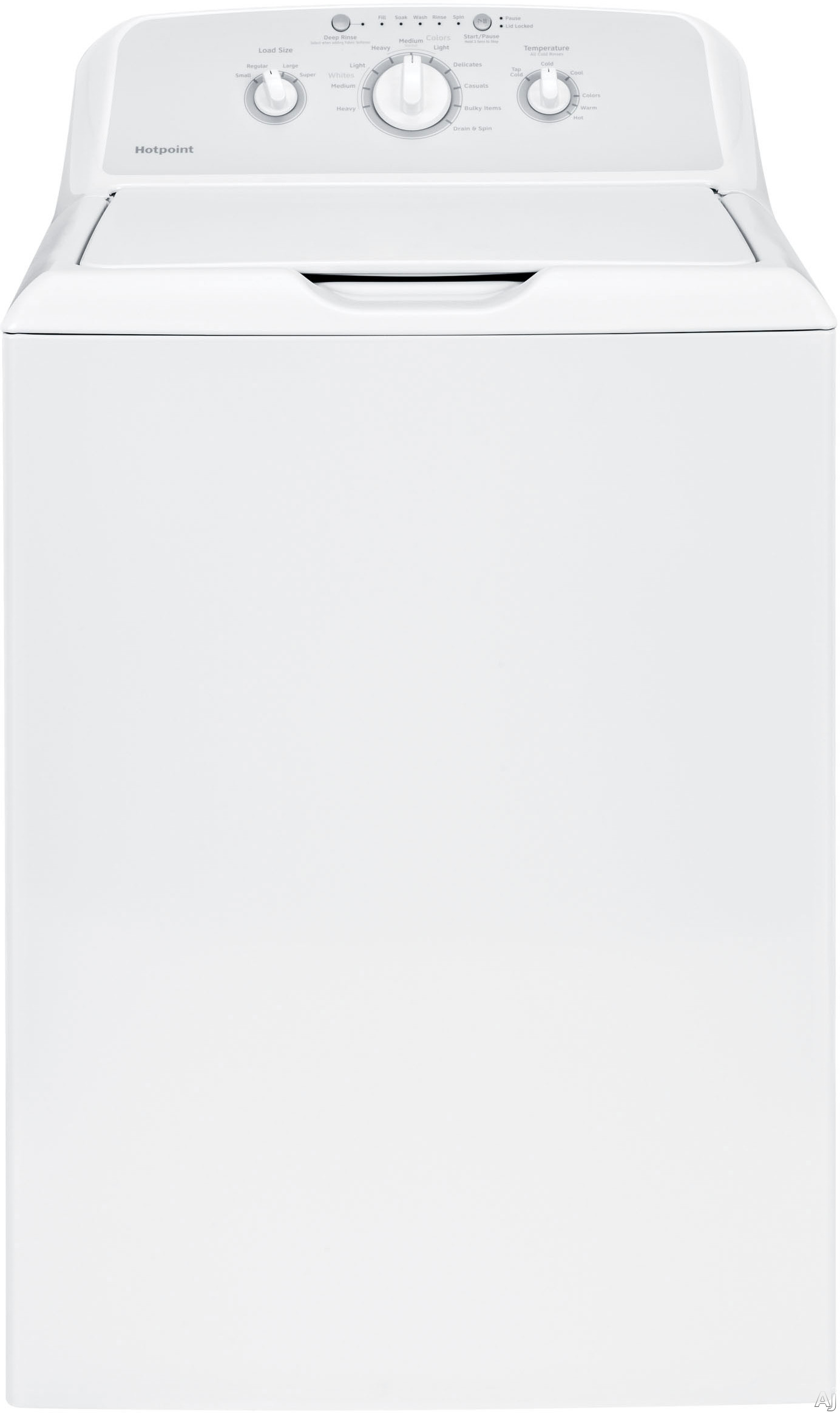 Hotpoint HTW240ASKWS 27 Inch Top Load Washer with 3.6 cu. ft. Capacity, 10 Wash Cycles, 700 RPM Spin Speed, Heavy-Duty Agitator, Stainless Steel Wash Drum, Deep Rinse Option, Bleach and Fabric Softener Dispensers and Cycle Status Lights HTW240ASKWS