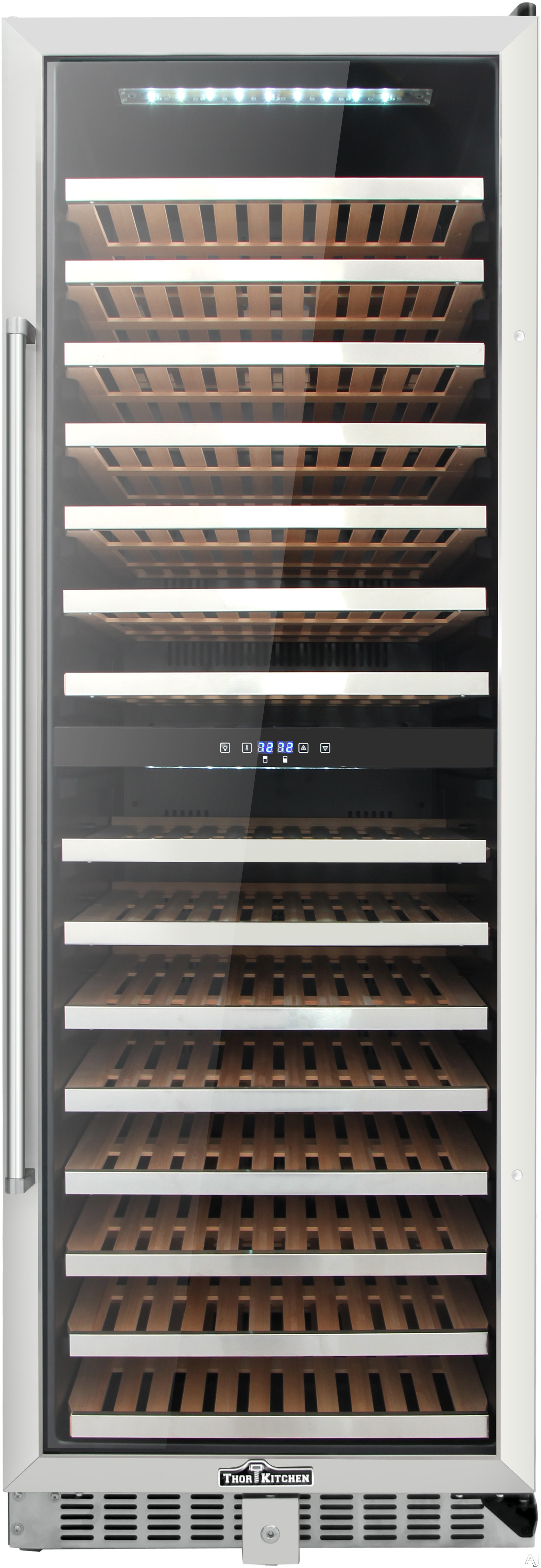 Thor Kitchen HWC2403U 24 Inch Wine Cooler with 156-Bottle Capacity, Dual Zones, Tempered and Smoked Double Pane Glass Door, Wooden Shelves, Reversible Door, White LED Interior Light, Touchpad Digital Controls, Compressor Cooling, Adjustable Thermostat and