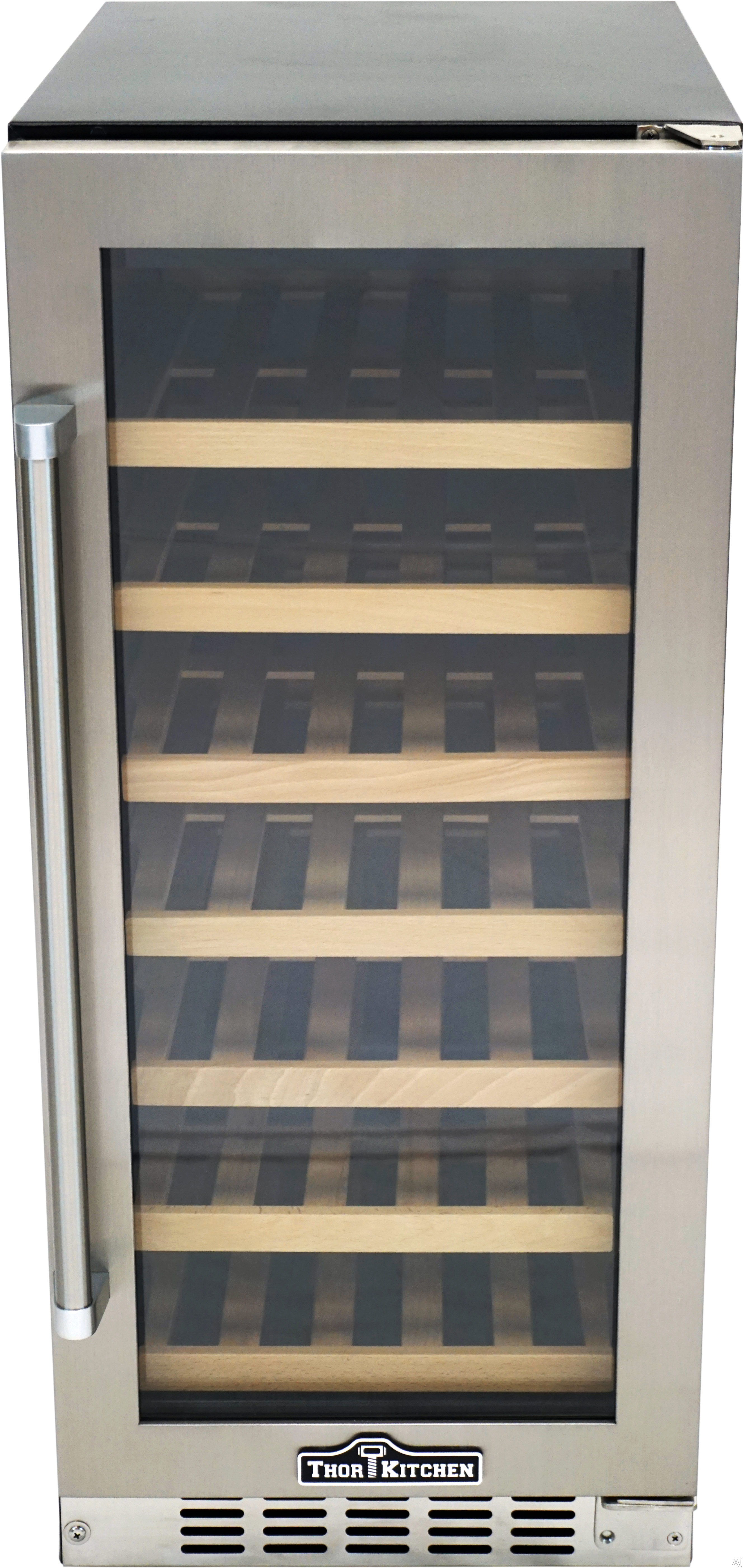 Thor Kitchen HWC2407U 15 Inch Built-In/Freestanding Wine Cooler with 33 Bottle Capacity, Compressor Powered Cooling, LED Lighting, No Frost Air Circulation, Double Tempered Glass and Stainless Steel Frame