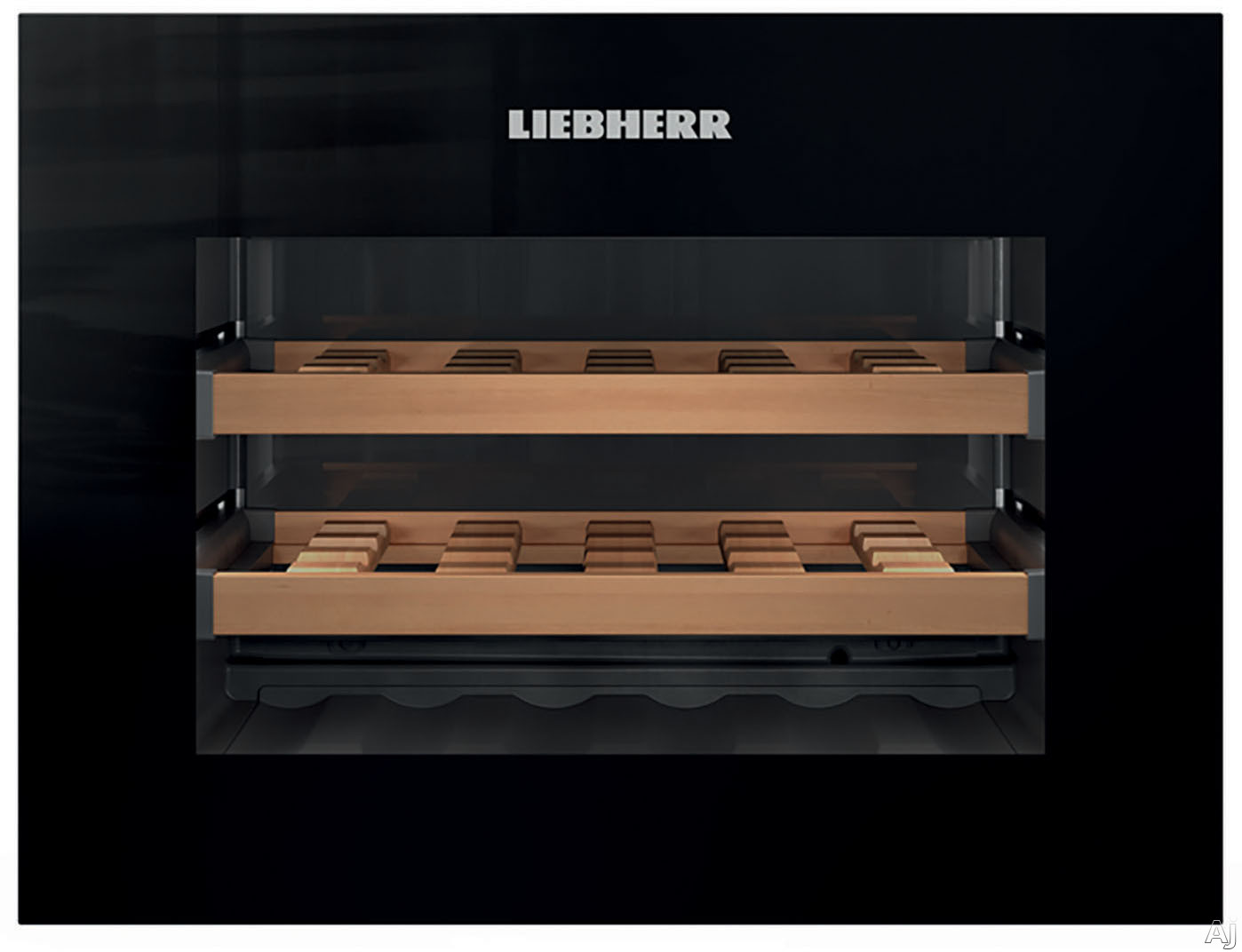 Liebherr HWG1803 24 Inch Built-in Wine Cooler with Push-to-Open Drop-Down Door, Single Zone Cooling, 18 Bottle Capacity, 1.7 cu. ft. Volume, 3 Wooden Trimmed Wine Shelves, Star-K Certified Sabbath Mode and LCD Display
