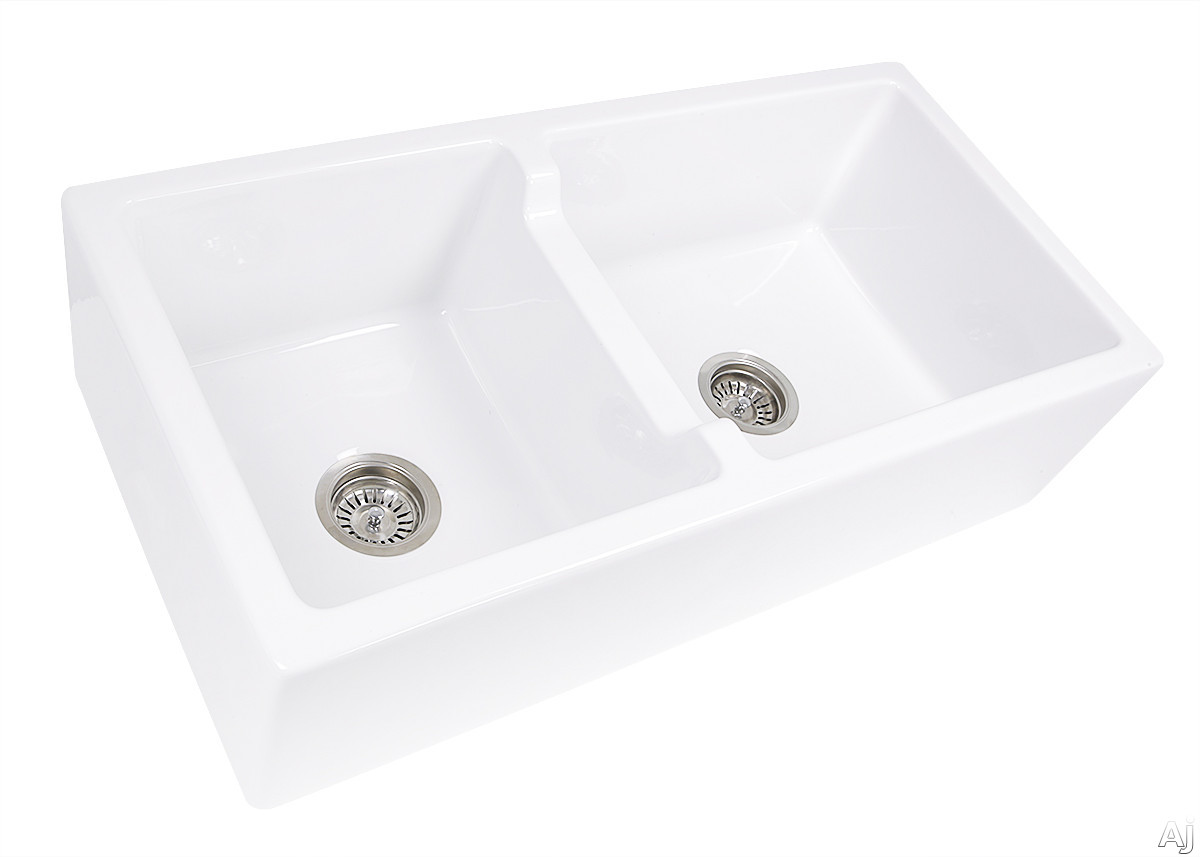 Nantucket Sinks Cape Collection HYANNIS36DBL 36 Inch Double Bowl Farmhouse Sink with Solid Fireclay Construction, Durable and Scratch Resistant and Reversible