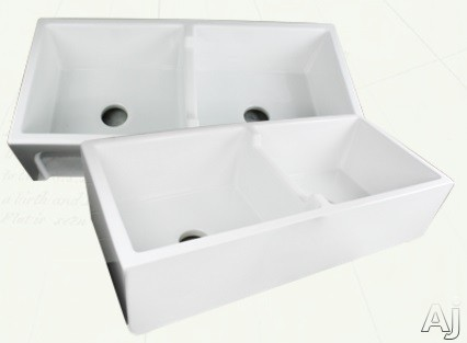 Nantucket Sinks Cape Collection Hyannis HYANNIS39DBL 39 Inch Double Bowl Farmhouse Apron Sink with 9 Inch Bowl Depth and Premium Fireclay Construction