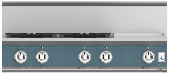 "Hestan KRT364GDLPGG 36 Inch Rangetop with 4 Sealed Burners, 12 Inch Griddle, Cast-Iron Continuous Grates, Backlit Control Knobs and Marquiseâ""¢ Control Panel: Natural Gas / Pacific Fog"