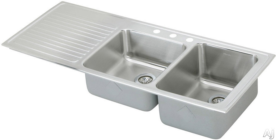 Elkay Gourmet Collection ILGR5422R3 54 Inch Top Mount Double Bowl Stainless Steel Sink with 18-Gauge, 10 Inch Large Bowl Depth, Self-Rim and Bowls Right Of Ribbed Work Area: 3 Holes