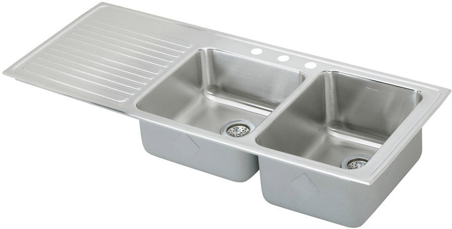 Elkay Gourmet Collection ILGR5422R1 54 Inch Top Mount Double Bowl Stainless Steel Sink with 18-Gauge, 10 Inch Large Bowl Depth, Self-Rim and Bowls Right Of Ribbed Work Area: 1 Hole