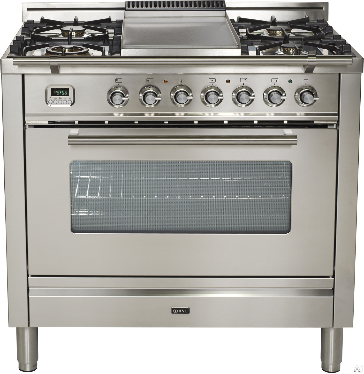 Ilve Proline Series UPW90FDMPI 36 Inch Dual Fuel Range With 5 Burners, Digital Clock and Timer, Warming Drawer, Electronic Ignition, Convection, Cast Iron Grates, Rotisserie and Griddle: Stainless Steel UPW90FDMPI