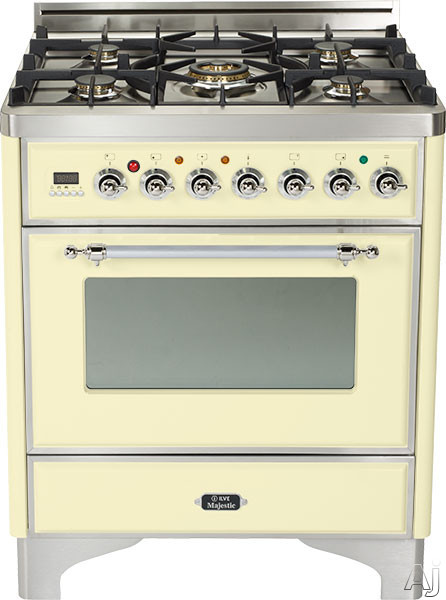 Ilve Majestic Collection UM76DMPAX 30 Inch Freestanding Dual Fuel Range with 5 Semi-Sealed Burners, 3.0 cu. ft. Oven Capacity, Proof Mode, Heat Insulated Door, Defrost Function, Warming Drawer and Rotisserie: Antique White, Chrome Trim UM76DMPAX