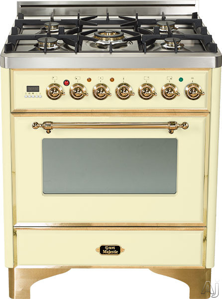 Ilve Majestic Collection UM76DMPA 30 Inch Freestanding Dual Fuel Range with 5 Semi-Sealed Burners, 3.0 cu. ft. Oven Capacity, Proof Mode, Heat Insulated Door, Defrost Function, Warming Drawer and Rotisserie: Antique White, Brass Trim UM76DMPA