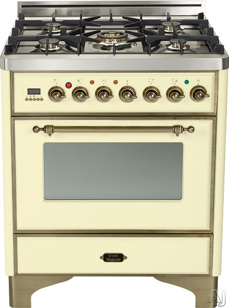 Ilve Majestic Collection UM76DMPAY 30 Inch Freestanding Dual Fuel Range with 5 Semi-Sealed Burners, 3.0 cu. ft. Oven Capacity, Proof Mode, Heat Insulated Door, Defrost Function, Warming Drawer and Rotisserie: Antique White, Oil Rubbed Bronze UM76DMPAY