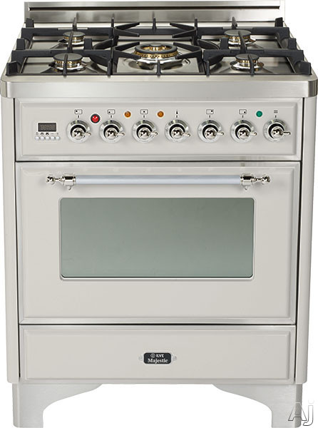 Ilve Majestic Collection UM76DMPIX 30 Inch Freestanding Dual Fuel Range with 5 Semi-Sealed Burners, 3.0 cu. ft. Oven Capacity, Proof Mode, Heat Insulated Door, Defrost Function, Warming Drawer and Rotisserie: Stainless Steel, Chrome Trim UM76DMPIX