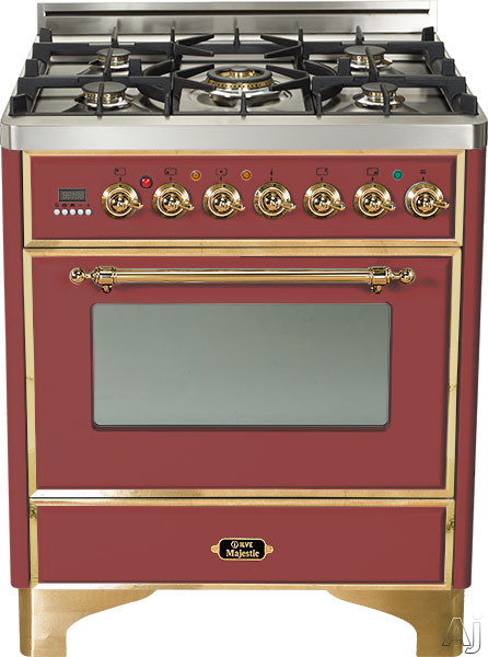 Ilve Majestic Collection UM76DMPRB 30 Inch Freestanding Dual Fuel Range with 5 Semi-Sealed Burners, 3.0 cu. ft. Oven Capacity, Proof Mode, Heat Insulated Door, Defrost Function, Warming Drawer and Rotisserie: Burgundy, Brass Trim UM76DMPRB