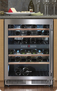 "Electronic Air Filters - Dacor Epicure Series EF24LWCZ2SS 24"" Dual Zone Wine Cellar With 4 Pull-Out Wine Racks 44+ Bottles Capacity Carbon Air Filters Electronic Controls And Digital"