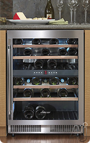 "Electronic Air Filters - Dacor Epicure Series EF24RWCZ2SS 24"" Dual Zone Wine Cellar With 4 Pull-Out Wine Racks 44+ Bottles Capacity Carbon Air Filters Electronic Controls And Digital"