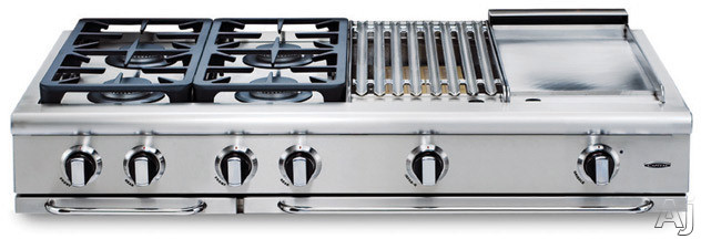 Capital Precision Series Grt484gn 48 Inch Pro-style Gas Rangetop With 4 Power-flo Sealed Burners W/ Simmer, 24 Inch Thermo-griddle, Full Extension Drip Tray On Ez-glides And Auto-ignition/re-ignition (not Exact Image): Natural Gas