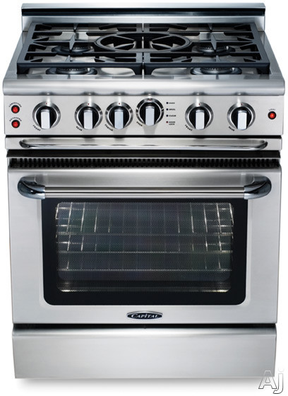 Capital Precision Series GSCR305 30 Inch Pro-Style Gas Range with 4 Power-Flo Sealed Burners, 4.1 cu. ft. Convection Oven, Integrated Wok Burner, Infrared Glass Broiler and Motorized Rotisserie System GSCR305