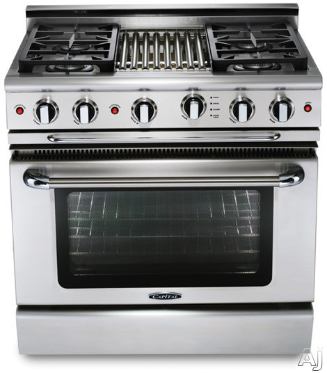 Capital Precision Series GSCR366 36 Inch Pro-Style Gas Range with 6 Power-Flo Sealed Burners, 4.6 cu. ft. Convection Oven, Infrared Glass Broiler and Motorized Rotisserie System (Exact Image Not Shown) GSCR366