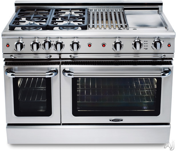 Capital Precision Series GSCR484G 48 Inch Pro-Style Gas Range with 4 Power-Flo Sealed Burners, 4.6 cu. ft. Primary Oven Capacity, Convection, Infrared Glass Broiler, 24 Inch Thermo-Griddle and Motorized Rotisserie System (Exact Image Not Shown) GSCR484G