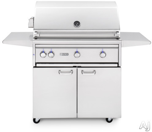"""Lynx Professional Grill Series L36ATRF 36 Inch Freestanding Grill with 935 sq. in. Cooking Surface, 3 Tridentâ""""¢ Burners, Dual Position Rotisserie, Halogen Lighting and Illuminated Controls L36ATRF"""