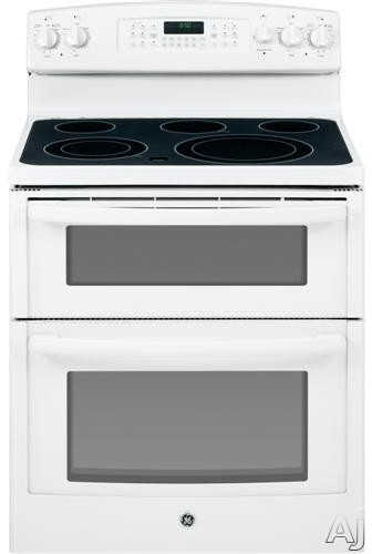 "GE JB850DFWW 30"" Freestanding Smoothtop Electric Range with 5 Heating Elements, Power Boil, Warming Zone, 6.6 cu. ft. Self-Clean Double Oven and Dual Element Bake: White"