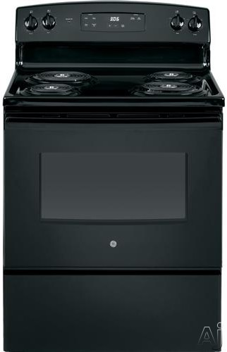 GE JBS360DMBB 30 Inch Freestanding Electric Range with Sensi-Temp Technology, Storage Drawer, Dual-Element Bake, Electronic Clock, Timer, Sabbath Mode and 5.0 cu. ft. Oven Capacity: Black
