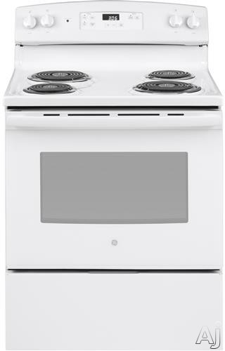 GE JBS360DMWW 30 Inch Freestanding Electric Range with Sensi-Temp Technology, Storage Drawer, Dual-Element Bake, Electronic Clock, Timer, Sabbath Mode and 5.0 cu. ft. Oven Capacity: White