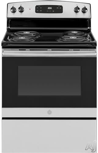 GE JBS360RMSS 30 Inch Freestanding Electric Range with Sensi-Temp Technology, Storage Drawer, Dual-Element Bake, Electronic Clock, Timer, Sabbath Mode and 5.0 cu. ft. Oven Capacity: Stainless Steel