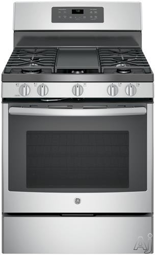 GE JGB700 30 Inch Freestanding Gas Range with Edge-to-edge Cooktop, Gas Convection, Extra-Large Griddle, Center Oval Burner, Steam Self-Clean, 5 Sealed Burners, 5.0 cu. ft. Oven, Power Boil Burner and Star-K® Certified