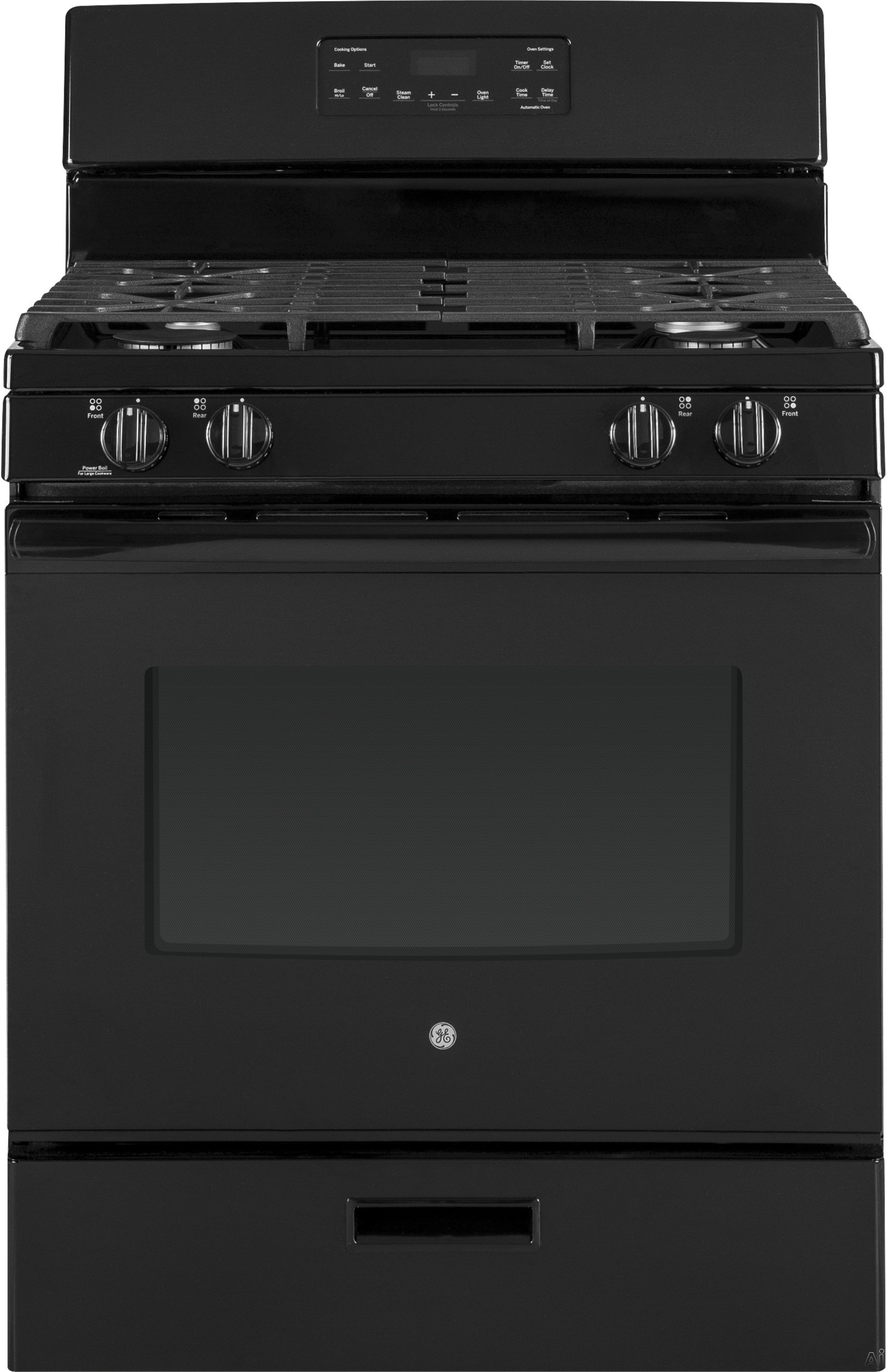 GE JGBS62DEKBB 30 Inch Freestanding Gas Range with Power Boil Burner, Simmer Burner, Steam Clean, Broiler Drawer, Continuous Grates, 4 Sealed Burners and 5 cu. ft. Capacity: Black