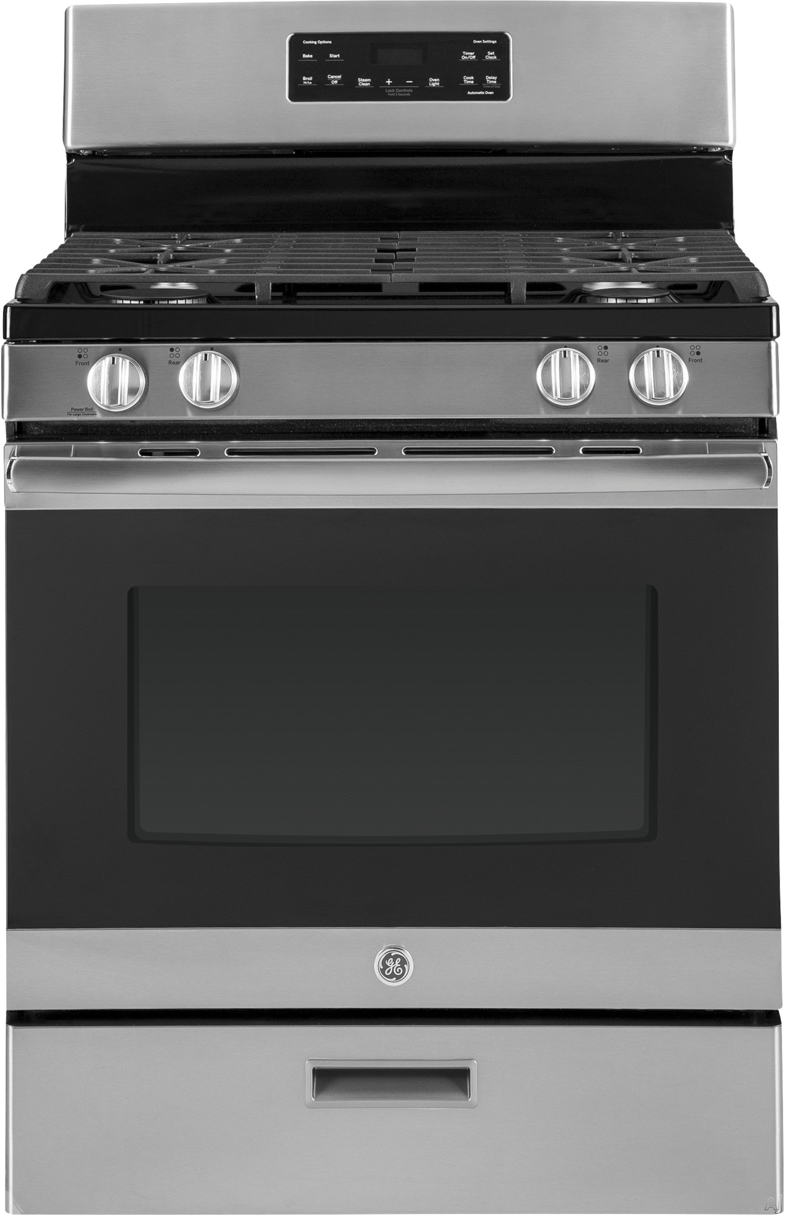 GE JGBS62REKSS 30 Inch Freestanding Gas Range with Power Boil Burner, Simmer Burner, Steam Clean, Broiler Drawer, Continuous Grates, 4 Sealed Burners and 5 cu. ft. Capacity: Stainless Steel
