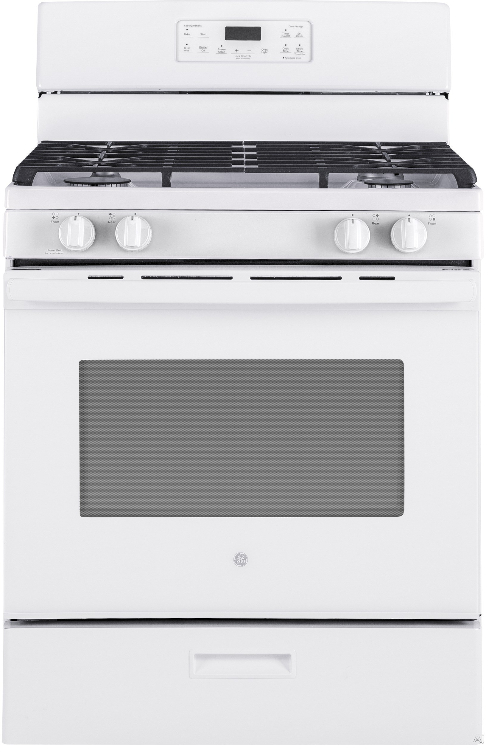 GE JGBS62DEKWW 30 Inch Freestanding Gas Range with Power Boil Burner, Simmer Burner, Steam Clean, Broiler Drawer, Continuous Grates, 4 Sealed Burners and 5 cu. ft. Capacity: White