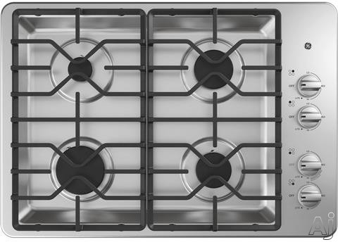 GE JGP3030SLSS 30 Inch Gas Cooktop with MAX Burner System, Power Broil Burner, Simmer Burner, Continuous Grates, Sealed Burners and ADA Compliant: Stainless Steel