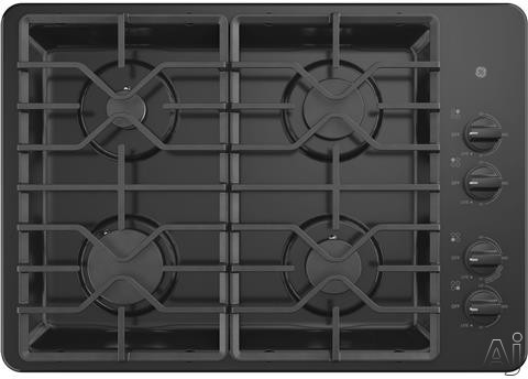 GE JGP3030DLBB 30 Inch Gas Cooktop with MAX Burner System, Power Broil Burner, Simmer Burner, Continuous Grates, Sealed Burners and ADA Compliant: Black