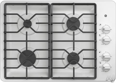 GE JGP3030DLWW 30 Inch Gas Cooktop with MAX Burner System, Power Broil Burner, Simmer Burner, Continuous Grates, Sealed Burners and ADA Compliant: White