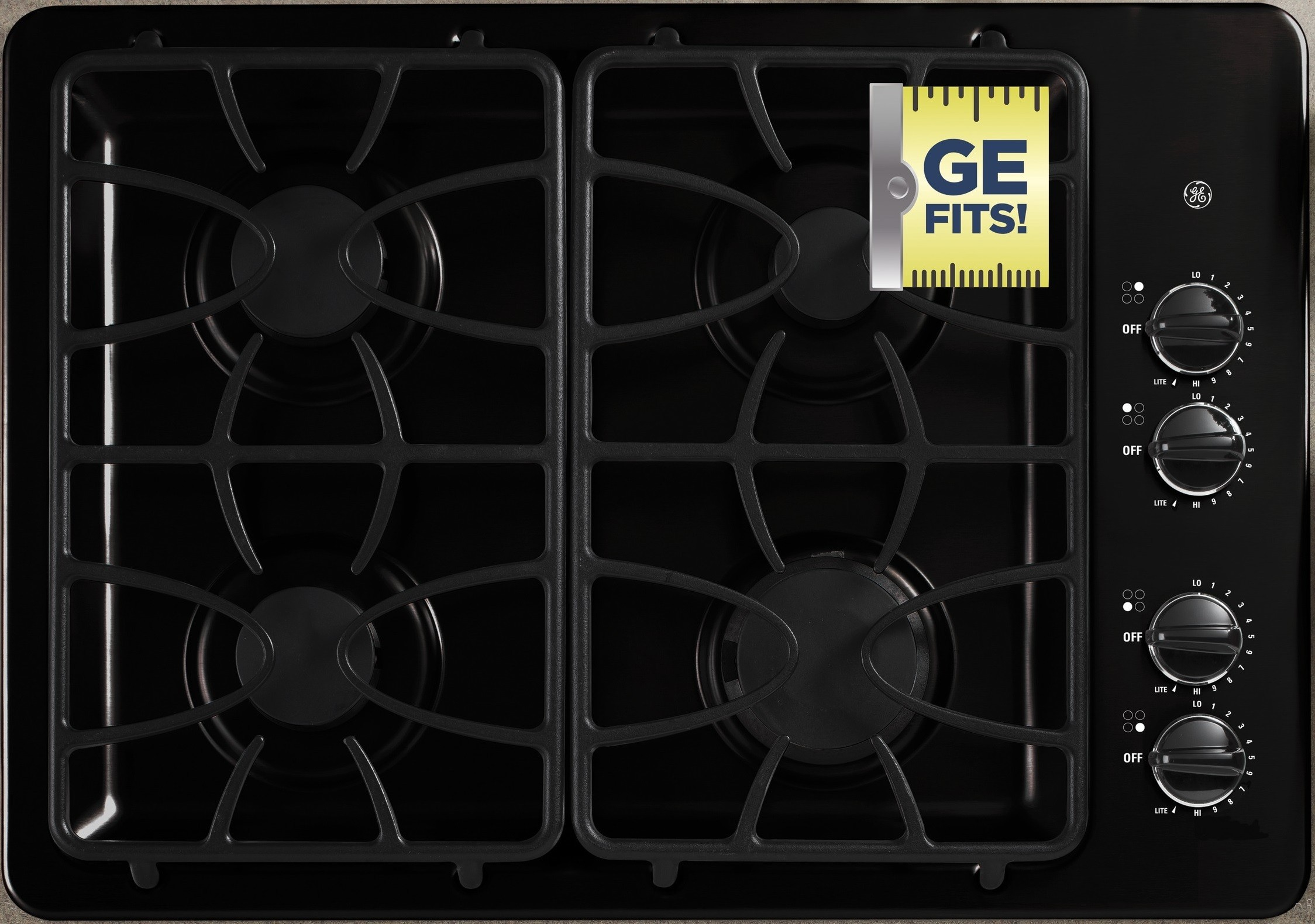 GE JGP329DETBB 30 Inch Gas Cooktop with 4 Sealed Burners, 11,000 BTU Burner, Precise Simmer Burner, Matte Grates, Dishwasher-Safe Knobs, ADA Compliant and GE Fits! Guarantee: Black