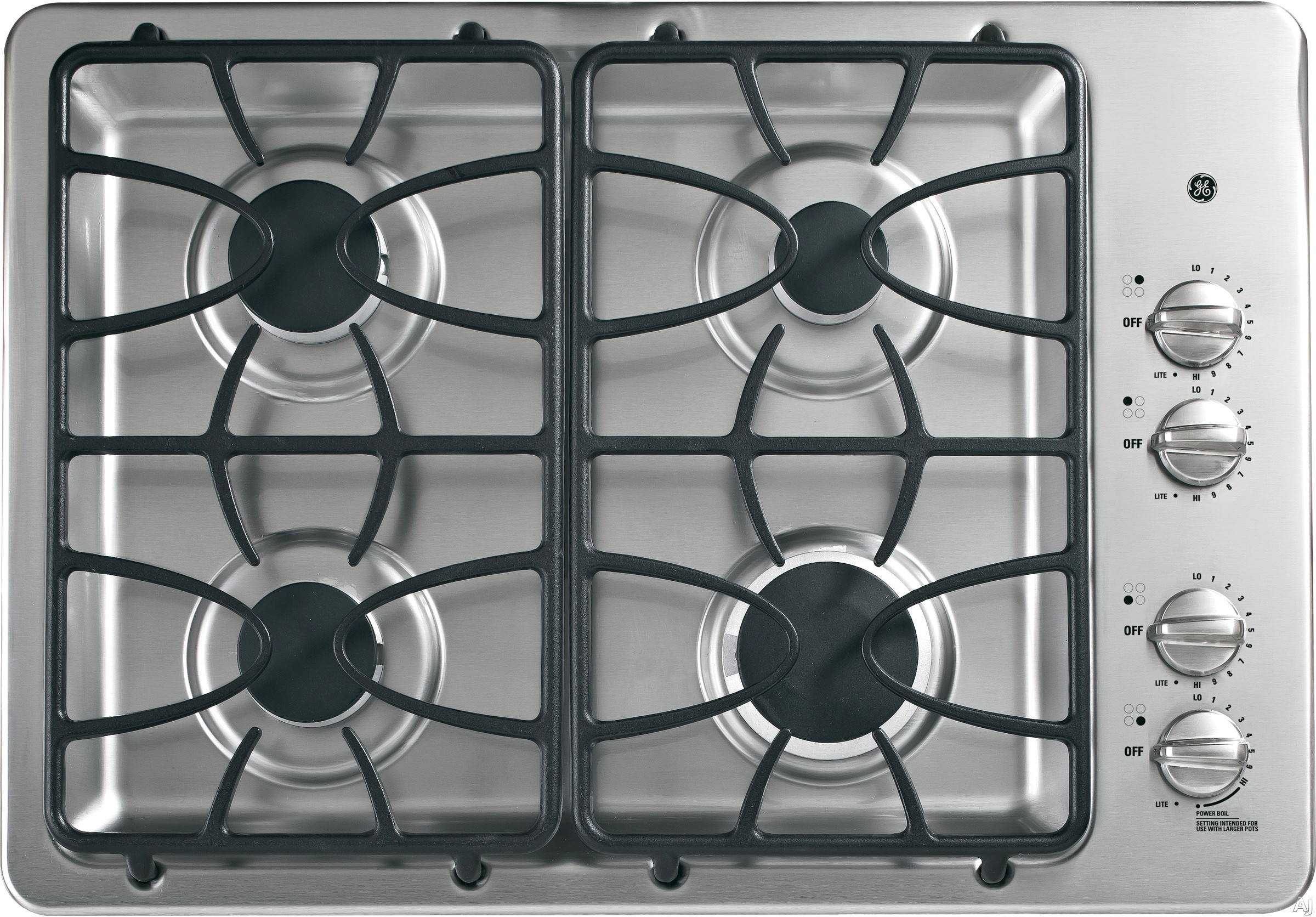 GE JGP333SETSS 30 Inch Gas Cooktop with 4 Sealed Burners, PowerBoil 15,000 BTU Burner, Precise Simmer Burner, Dishwasher-Safe Medium-Cast Grates, ADA Compliant and GE Fits! Guarantee: Stainless Steel