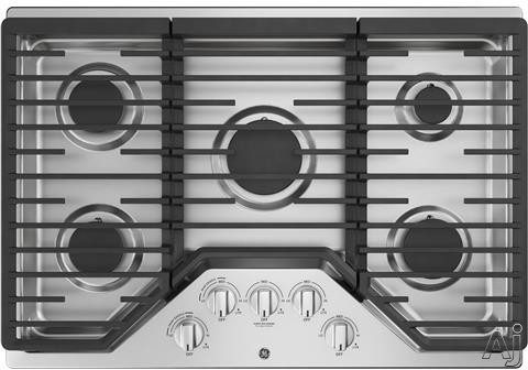 GE JGP5030SLSS 30 Inch Gas Cooktop with Power Boil, Simmer Burner, Continuous Grates, 5 Sealed Burners and ADA Compliant: Stainless Steel