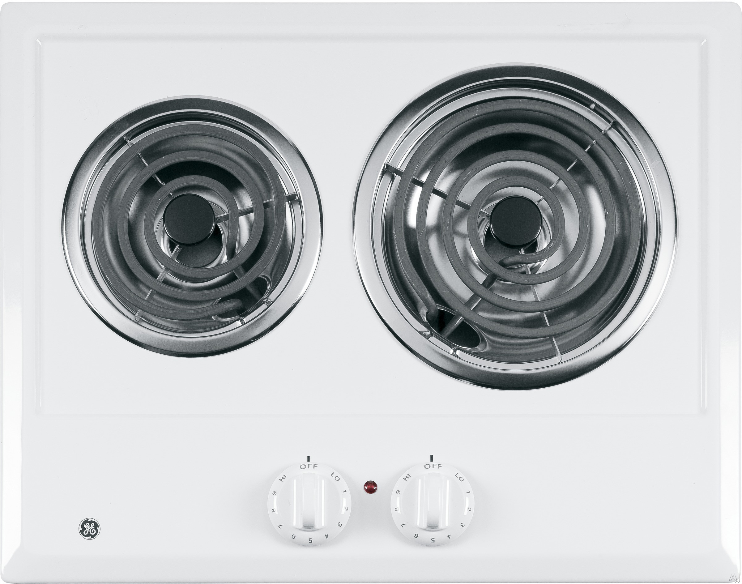 GE JP202DWW 21 Inch Electric Cooktop with 2 Coil Elements, Removable Drip Bowls, Upfront Controls and ADA Compliant: White