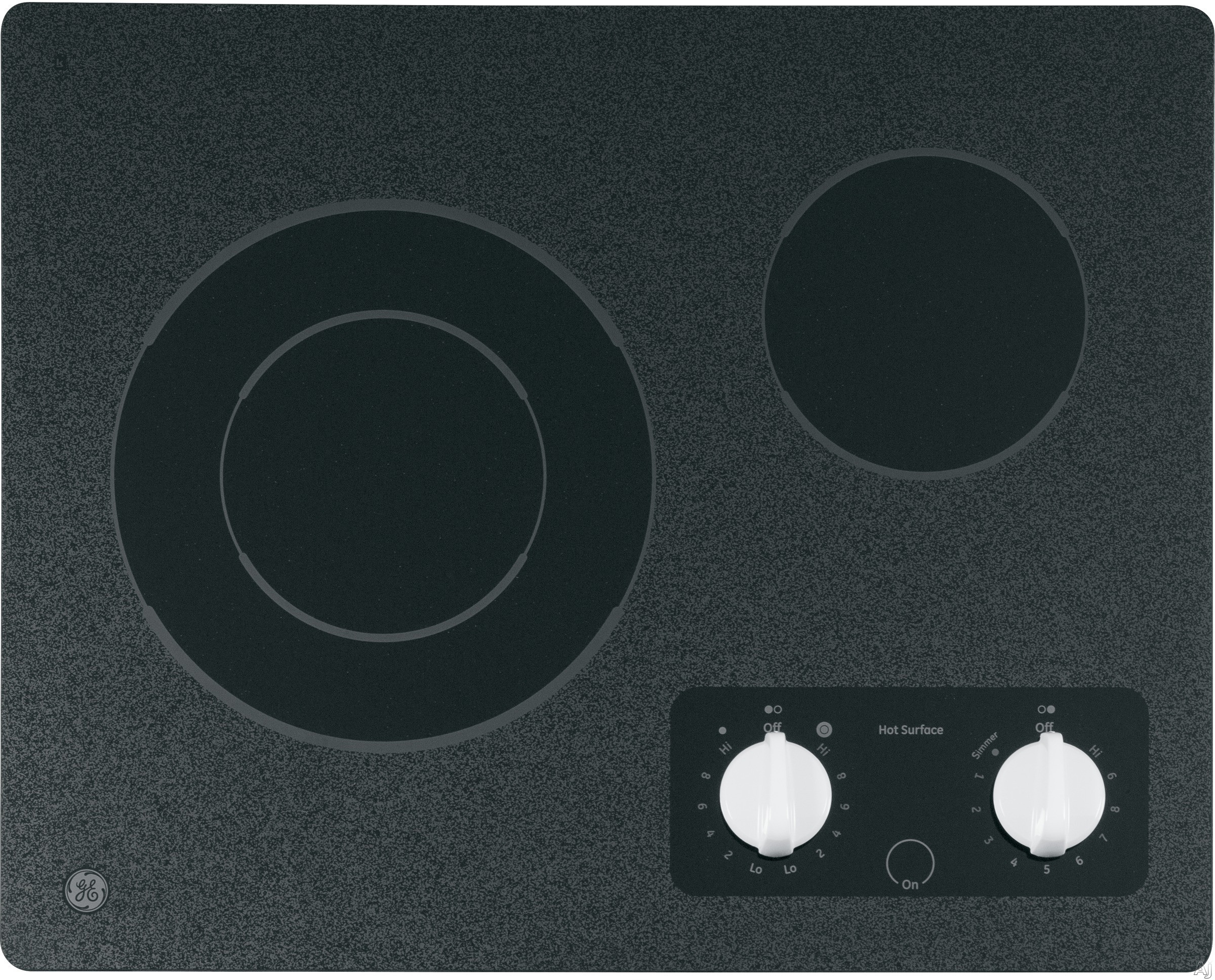 """""""GE CleanDesign JP256WMWW 21"""""""" Smoothtop Electric Cooktop with 2 Ribbon Elements, 6""""""""/9"""""""" Dual Element, Simmer Option and Hot Surface Indicator Light: Black Surface with White Accents"""""""
