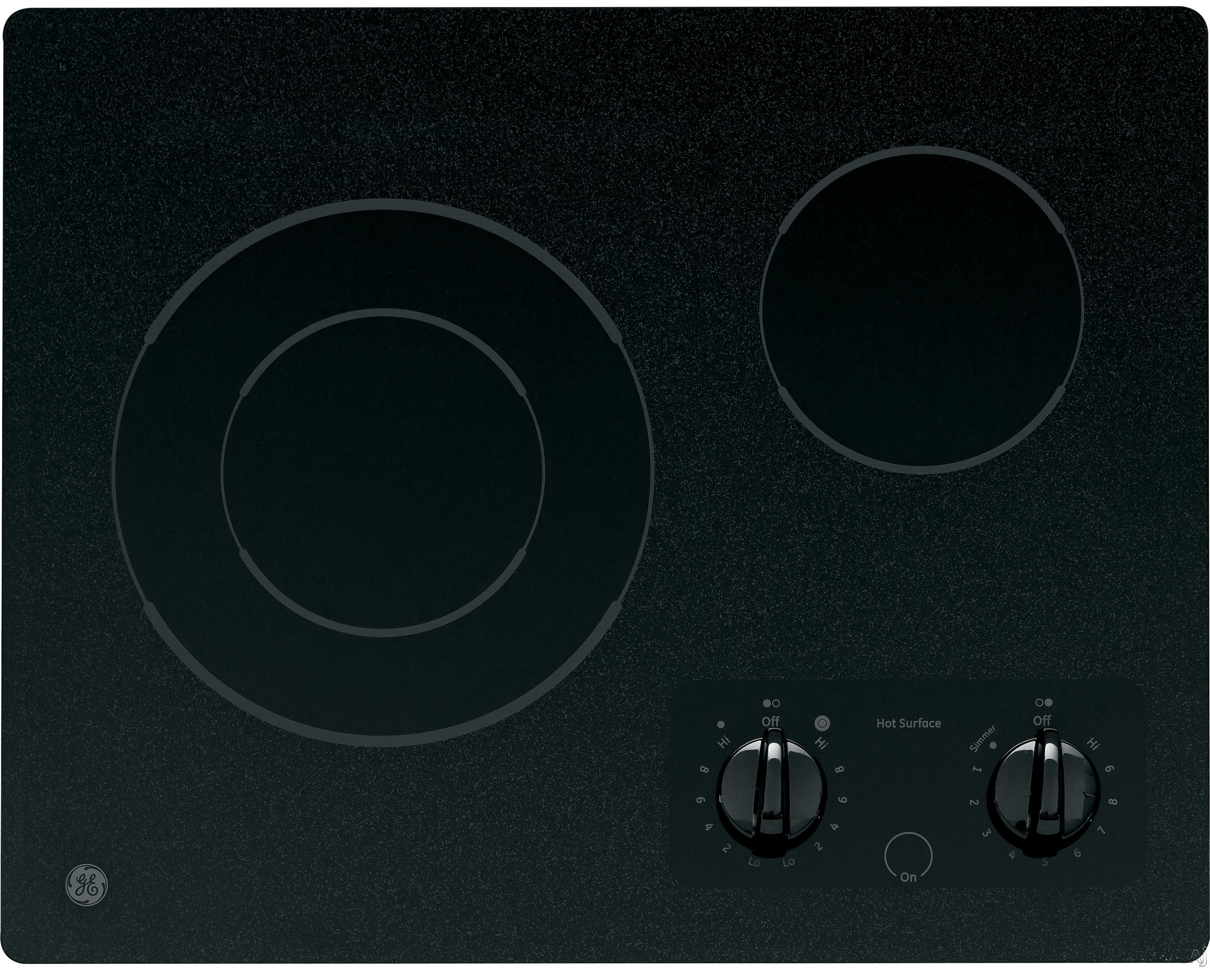 """""""GE CleanDesign JP256BMBB 21"""""""" Smoothtop Electric Cooktop with 2 Ribbon Elements, 6""""""""/9"""""""" Dual Element, Simmer Option and Hot Surface Indicator Light: Black Surface with Black Accents"""""""